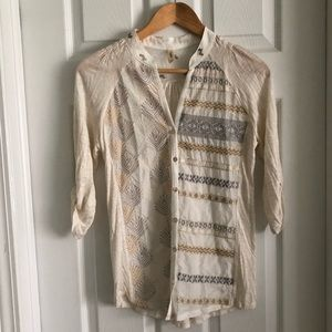 Anthropologie Tiny Embroidered Shirt